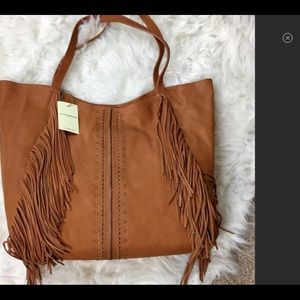 NWT 100% Leather Fringe BOHO bag with Dust Bag NWT